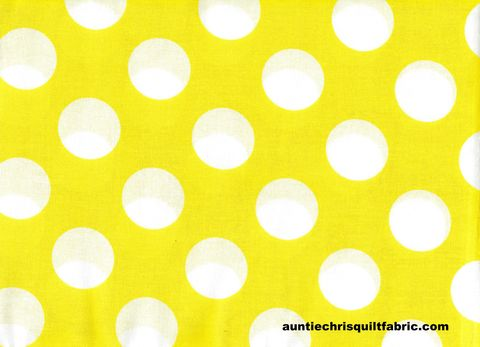 Cotton,Quilt,Fabric,Yellow,White,Bigger,Dot,Polka,Dots,1,1/2,dot,,quilt backing, dresses, quilt fabric,cotton material,auntie chris quilt,sewing,crafts,quilting,online fabric,sale fabric