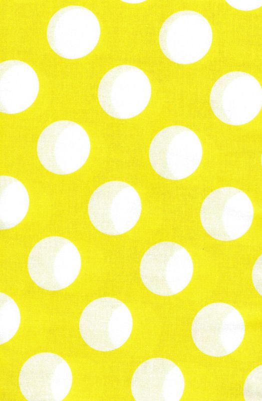Cotton Quilt Fabric Yellow White Bigger Dot Polka Dots 1 1/2