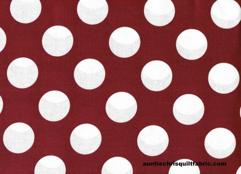 Cotton,Quilt,Fabric,Maroon,Red,White,Bigger,Dot,Polka,Dots,1,1/2,dot,,quilt backing, dresses, quilt fabric,cotton material,auntie chris quilt,sewing,crafts,quilting,online fabric,sale fabric