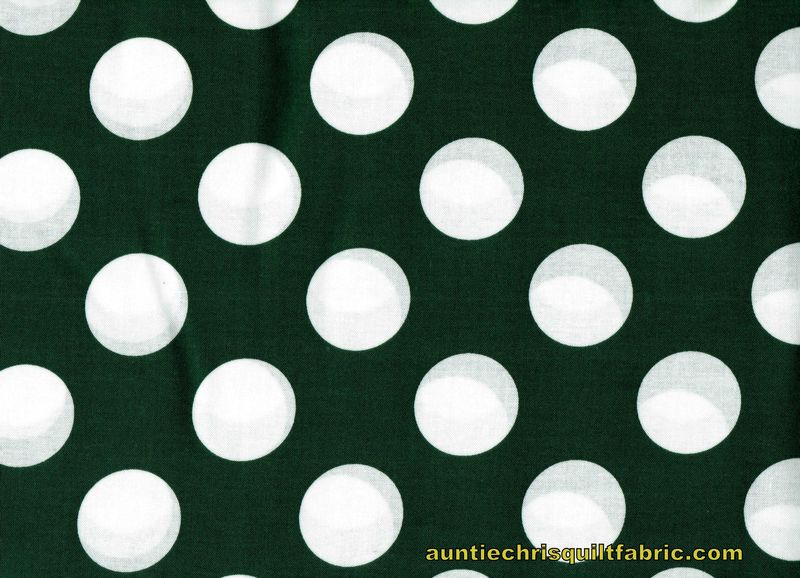 "Cotton Quilt Fabric Forest Green White Bigger Dot Polka Dots 1 1/2"" dot - product images  of"