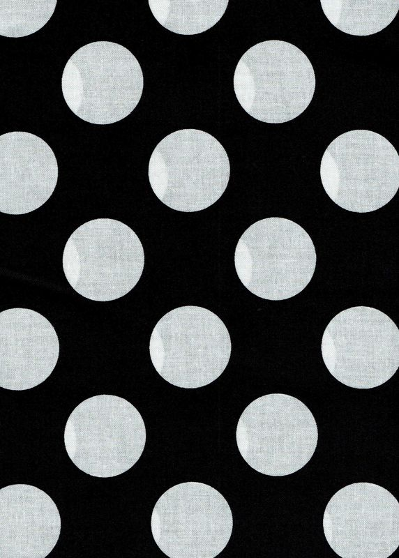 "Cotton Quilt Fabric Black White Bigger Dot Polka Dots 1 1/2"" dot - product images  of"