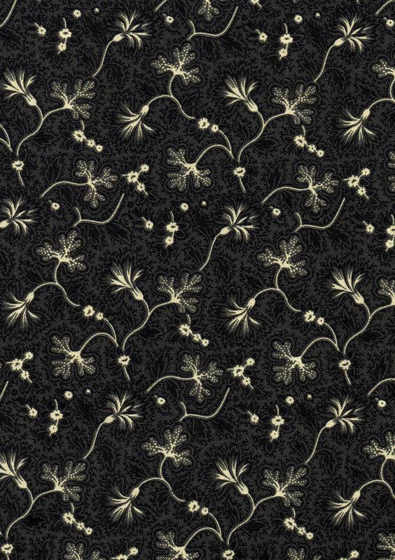 Cotton Quilt Fabric Fanfare Floral Calico Ebony Black - product images  of