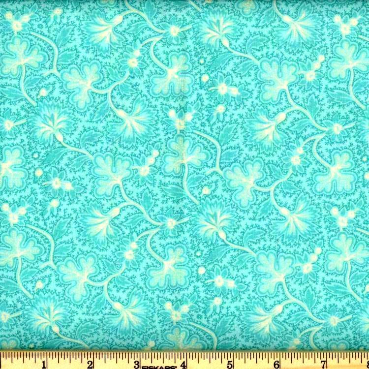 Cotton Quilt Fabric Fanfare Floral Calico Caribbean Blue Aqua - product images  of