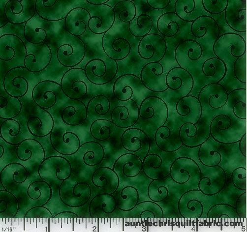 Cotton Quilt Fabric Tilt A Whirl Swirly Tone On Tone Hunter Green - product images  of