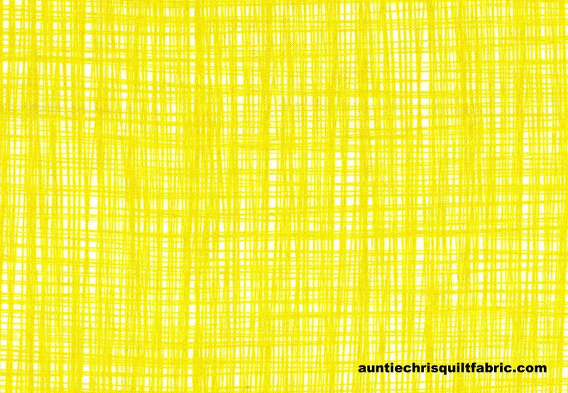 Cotton Quilt Fabric Sketched Lines Bright Lemonade Yellow - product images  of