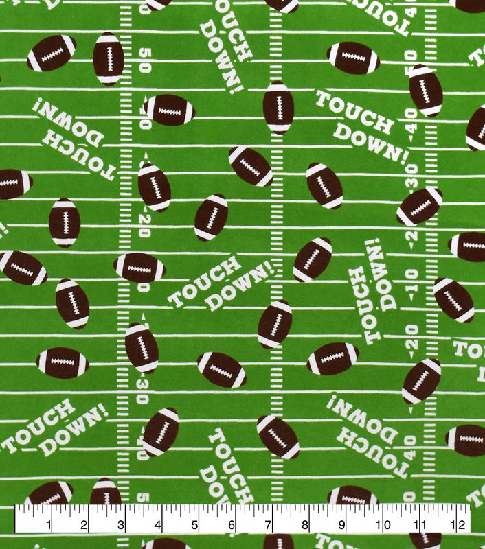 Cotton Quilt Fabric Flannel Touchdown Footballs Sports - product images  of