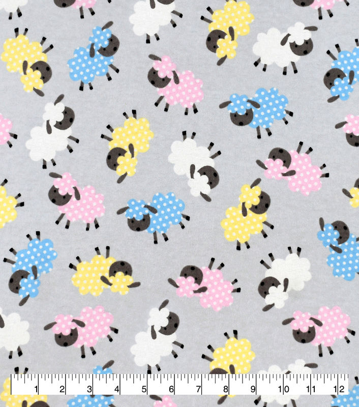 Cotton Quilt Fabric Flannel Baby Sheep Tossed Grey Pink Blue Yellow - product images  of