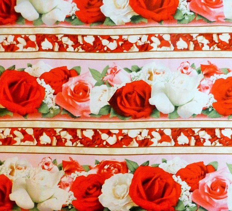 Good Buy Cotton Quilt Fabric Bed Of Roses Border Stripe Red White Pink Roses  - product image