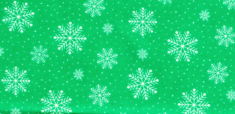 Cotton Quilt Fabric Holiday Lights Snowflakes Green White Cut Yards - product image