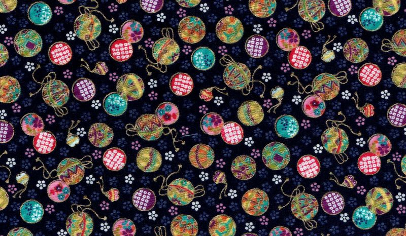 Cotton Quilt Fabric Mini Temari Ornaments Navy Gold Metallic Cut Yards - product image