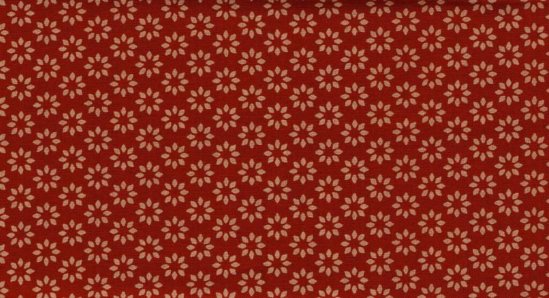 Cotton Quilt Fabric Omoshiro Spice Red Tan Floral Cut Yards - product image