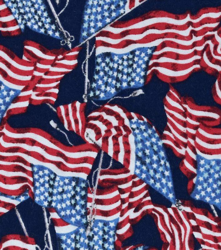 Cotton Quilt Fabric Flannel Flying Flags Patriotic American Valor - product images  of