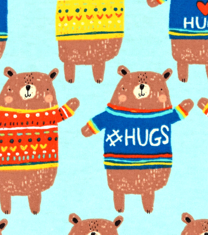 Cotton Quilt Fabric Flannel I Love Hugs Bear Blue Multi Animals  - product image