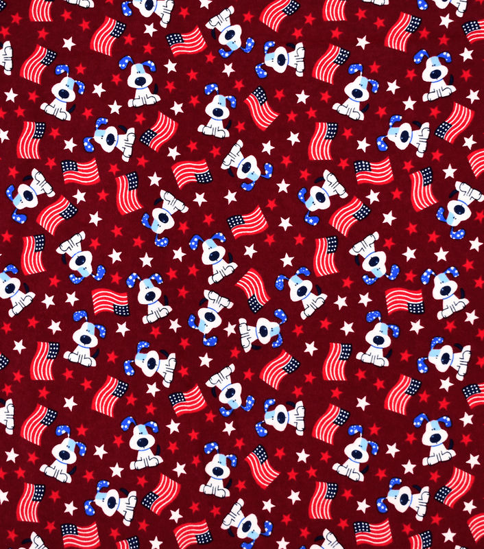 Cotton Quilt Fabric Flannel Pup Flag Tossed Patriotic Dogs Stars  - product images  of