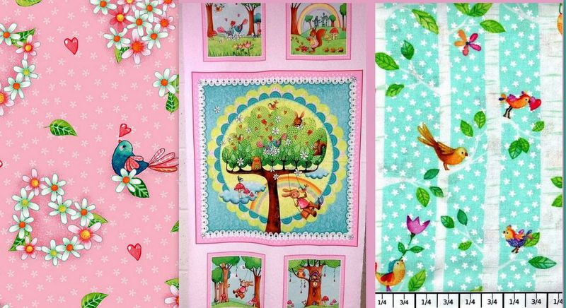 Cotton Quilt Fabric Rainbow Woodland Panel Plus Medley - product images  of