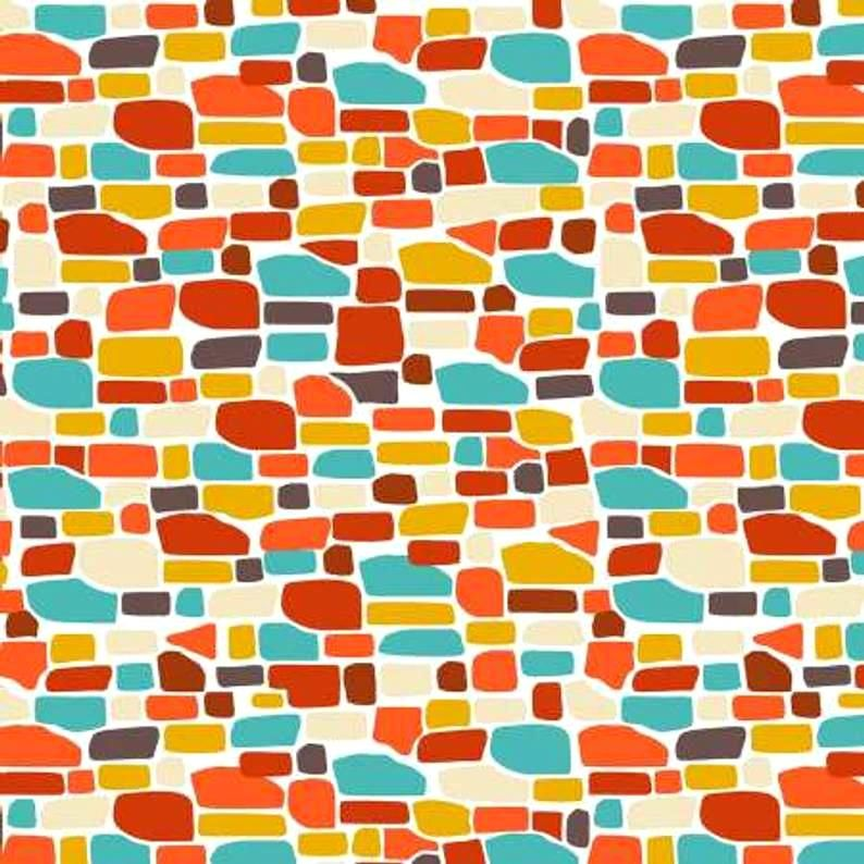 Cotton Quilt Fabric Ain't Life a Hoot White Orange Aqua Bricks Modern  - product images  of