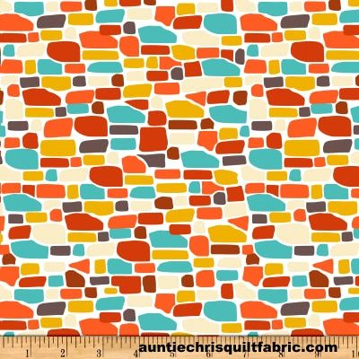 Cotton,Quilt,Fabric,Ain't,Life,a,Hoot,White,Orange,Aqua,Bricks,Modern,,quilt backing, dresses, quilt fabric,cotton material,auntie chris quilt,sewing,crafts,quilting,online fabric,sale fabric
