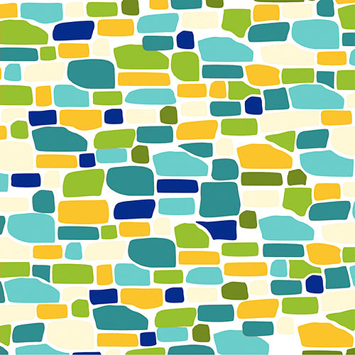 Cotton Quilt Fabric Ain't Life a Hoot White Blue Green Bricks Modern  - product images  of