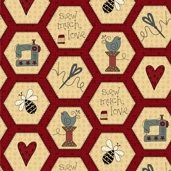 Cotton Quilt Fabric Home Sewn Red Hexies Sewing Quilting - product images  of
