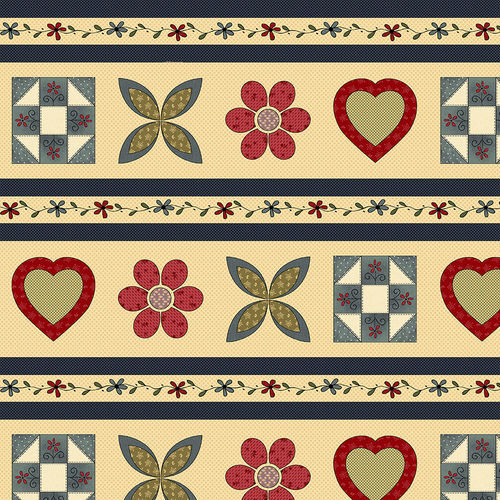 Cotton Quilt Fabric Home Sewn Border Stripe Hearts Flowers Quilt blocks - product images  of