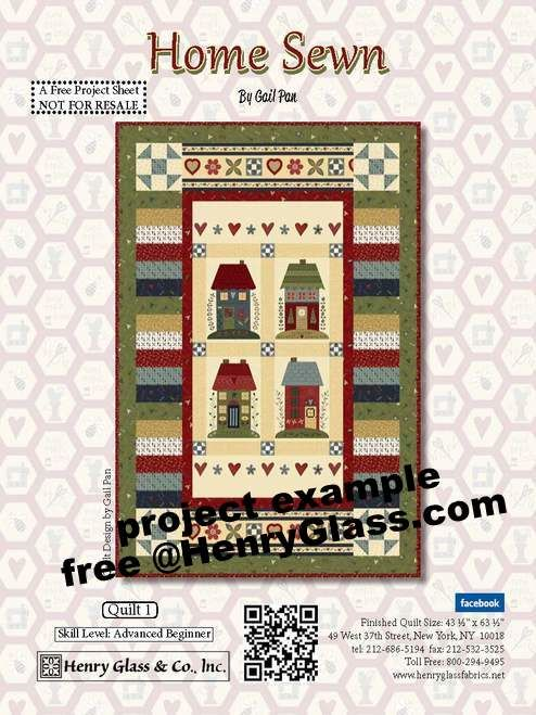 "Cotton Quilt Fabric Home Sewn Folk Art Home Panel 24"" - product images  of"