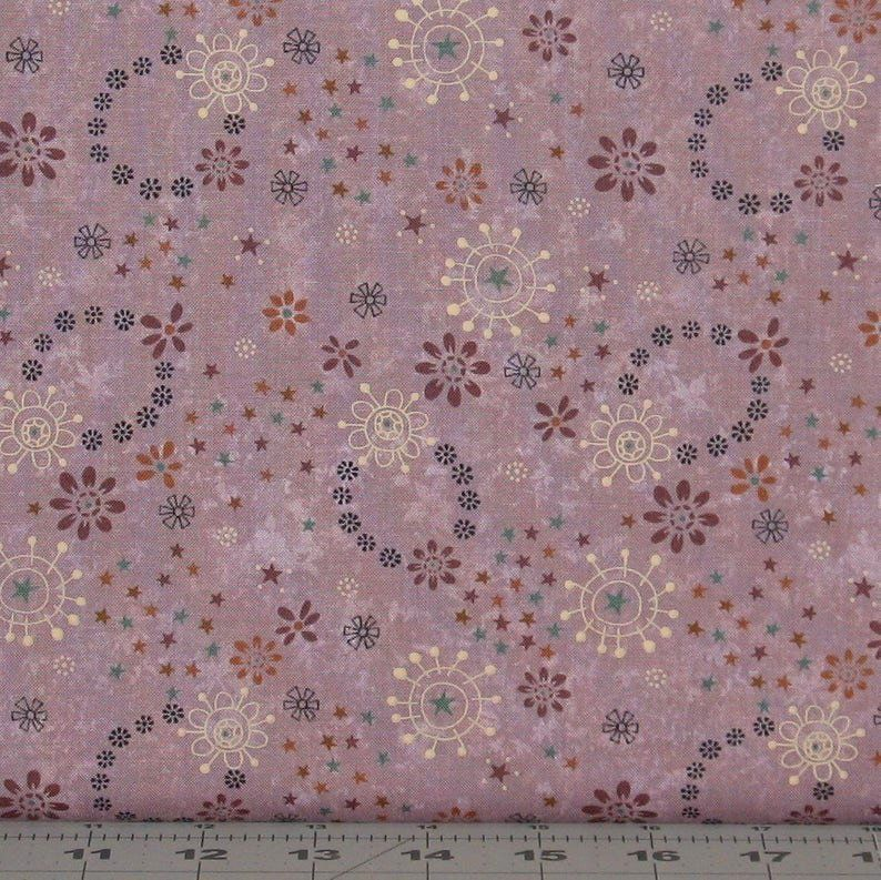 Cotton Quilt Fabric My Back Porch Dusty Lavender Whimsical Floral - product images  of