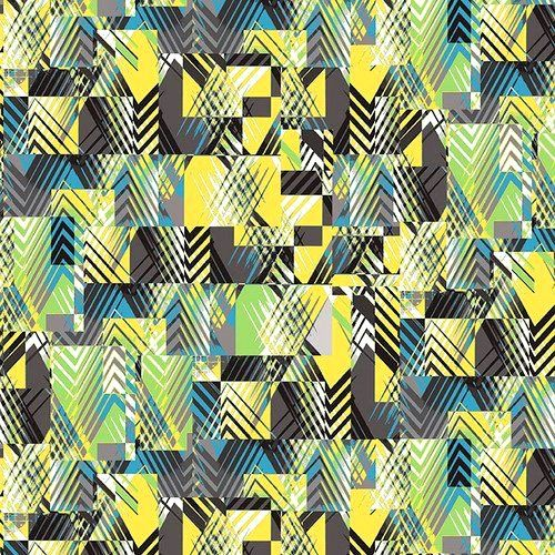 Cotton Quilt Fabric Black White Citrus Chevron Patches Multi Modern  - product images  of