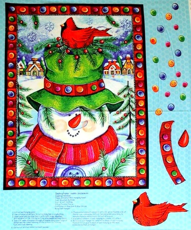Christmas Panel Kit HAPPY SNOWMAN WALL HANGING Plus Backing Instructions - product images  of