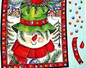 Cotton Quilt Fabric Christmas Panel HAPPY SNOWMAN WALL HANGING Panel Springs - product images  of
