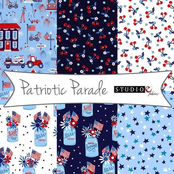 Cotton Quilt Fabric Patriotic Parade Mini Cherries Fabric Dark Blue - product images  of