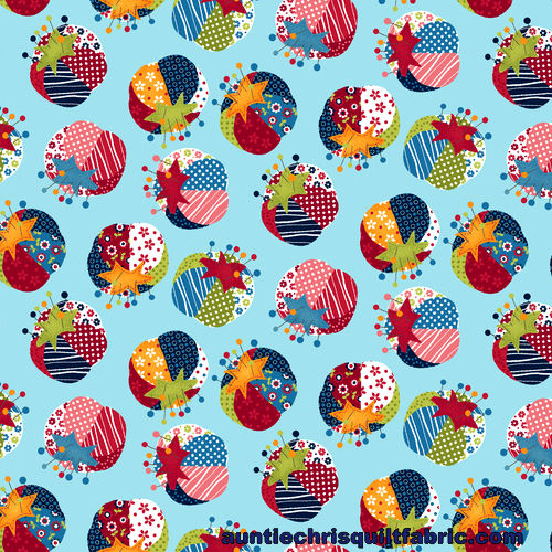 Cotton Quilt Fabric Crafty Studio Pin Cushion Lt Blue Multi - product images  of