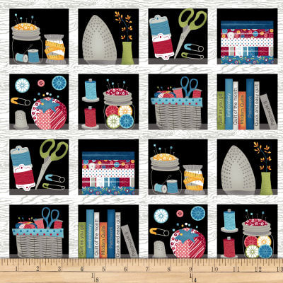 "Cotton Quilt Fabric Crafty Studio Book Shelf 24"" Panel Black Multi - product images  of"