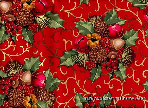 Cotton,Quilt,Fabric,Christmas,Berries,And,Bells,Red,Multi,,quilt backing, dresses, quilt fabric,cotton material,auntie chris quilt,sewing,crafts,quilting,online fabric,sale fabric