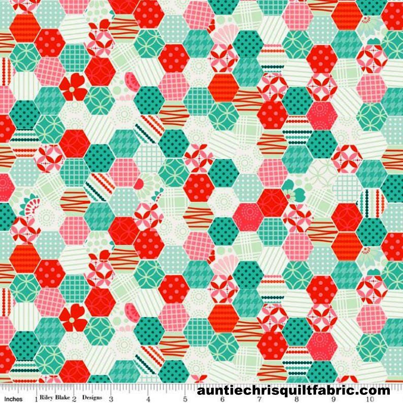 Cotton Quilt Fabric Hexi Blue Hexagons Peach So Happy Together Happy  - product images  of