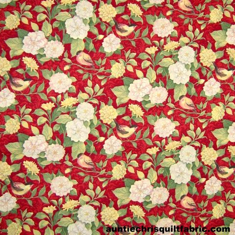 Cotton,Quilt,Fabric,Meadow,Bird,Vine,&,Flowers,Red,Multi,,quilt backing, dresses, quilt fabric,cotton material,auntie chris quilt,sewing,crafts,quilting,online fabric,sale fabric