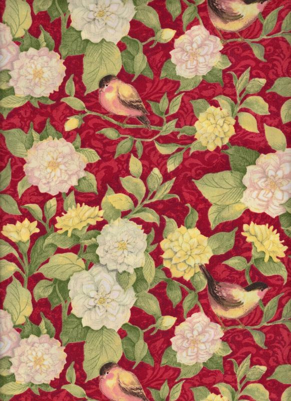 Cotton Quilt Fabric Meadow Bird Vine & Flowers Red Multi - product images  of