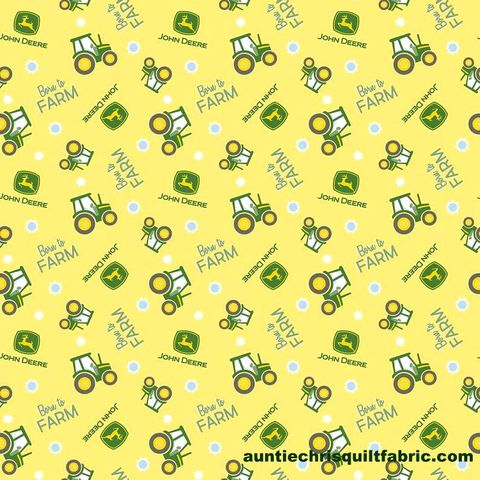 Cotton,Quilt,Fabric,John,Deere,Nursery,Born,To,Farm,Toss,Yellow,,quilt backing, dresses, quilt fabric,cotton material,auntie chris quilt,sewing,crafts,quilting,online fabric,sale fabric