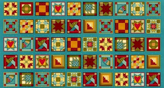Cotton Quilt Fabric Panel Built Each Other Up Patchwork Cheater Blocks  - product images  of