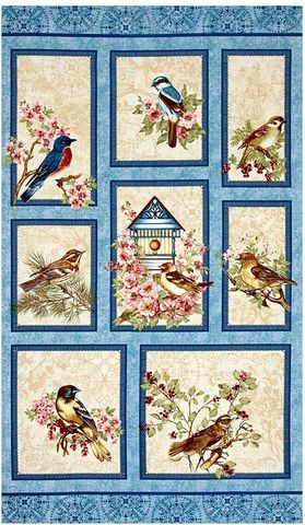 Cotton,Quilt,Fabric,Panel,BIRDS,of,a,FEATHER,Beautiful,Bird,House,Bristol,Bay,Studios,,quilt backing, dresses, quilt fabric,cotton material,auntie chris quilt,sewing,crafts,quilting,online fabric,sale fabric