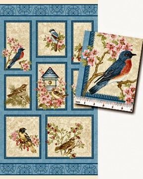 Cotton Quilt Fabric Panel BIRDS of a FEATHER Beautiful Bird House Bristol Bay Studios - product images  of