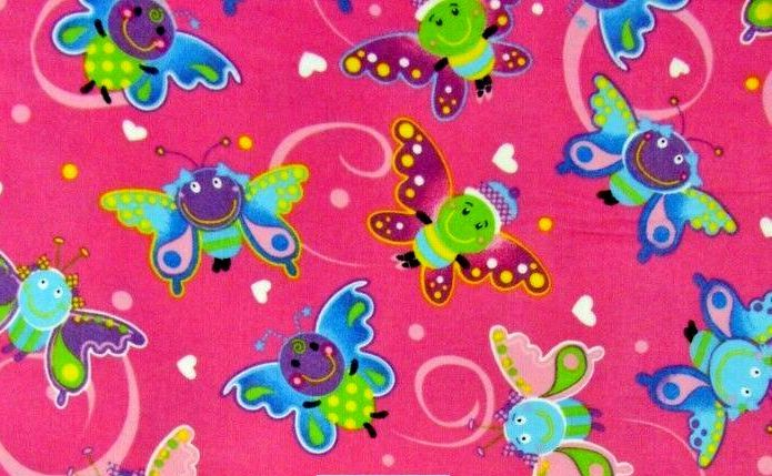 Cotton Quilt Fabric Flannel Happy Butterfly Hearts Hot Pink  - product images  of