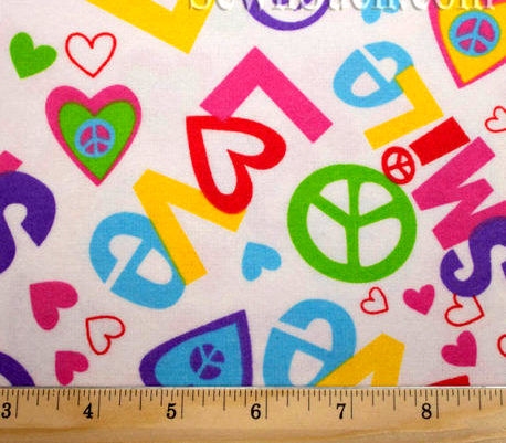 Cotton Flannel Quilt Fabric Peace And Love Hearts Smiley Face White - product images  of