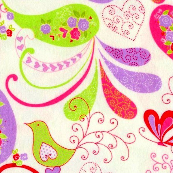 Cotton Quilt Fabric Flannel Delicate Paisley Floral Birds Pink White - product images  of