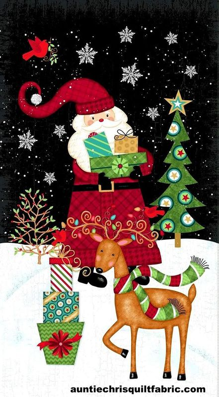 Cotton Quilt Fabric Panel Holly Jolly Christmas Santa Claus Reindeer Scene - product images  of