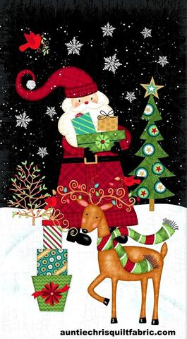 Cotton,Quilt,Fabric,Panel,Holly,Jolly,Christmas,Santa,Claus,Reindeer,Scene,,quilt backing, dresses, quilt fabric,cotton material,auntie chris quilt,sewing,crafts,quilting,online fabric,sale fabric