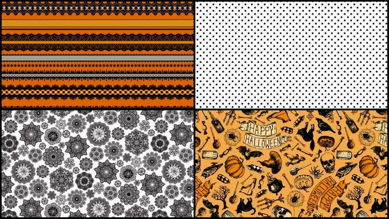 Quick Cuts Cotton Fabric Happy Halloween Coordinated 2 Yard Medley  - product images  of