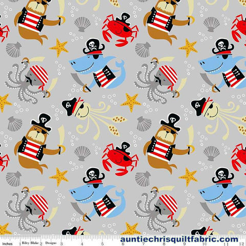 Cotton,Quilt,Fabric,Designer,Flannel,Sea,Creatures,Pirates,Gray,Multi,,quilt backing, dresses, quilt fabric,cotton material,auntie chris quilt,sewing,crafts,quilting,online fabric,sale fabric