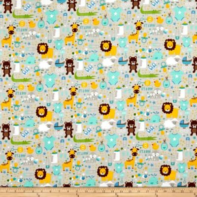 Cotton Quilt Fabric Designer Flannel Sweet Baby Boy Gray Multi - product images  of