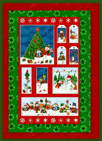 Easy,Fabric,Panel,Quilt,Kit,Winter,Wishes,Christmas,Snowmen,kit,quilt fabric,cotton material,auntie chris quilt,sewing,crafts,quilting,online fabric,sale fabric