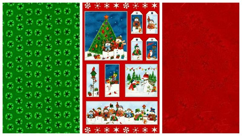Easy Fabric Panel Quilt Kit Winter Wishes Christmas Snowmen - product images  of